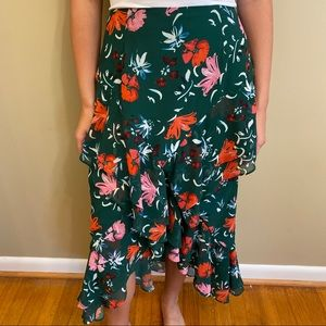 C/Meo Collective Ruffled Floral Print Long Skirt